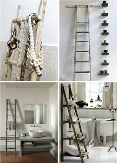 natural modern interiors: Decorating With Ladders :: In The Bathroom