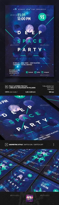 Deep Space Party FLyer  #flat #flyer #galaxy • Available here → http://graphicriver.net/item/deep-space-party-flyer/15463611?ref=pxcr