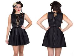 Give a gothic glam touch to your look with this Black Skater Skirt Dress with Corset Top. You can use it for your prom night, a night out with friends or a romantic dinner.