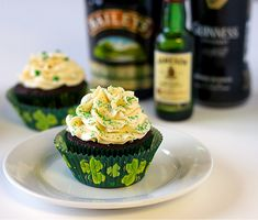 Irish Car Bomb cupcakes: flavored with Guinness, Irish cream and whiskey.