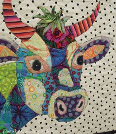 close up, Happy Cow, by Faith Andresen. Kaffe Fassett fabrics. Pattern by BJ Designs. Photo by Quilt Inspiration.