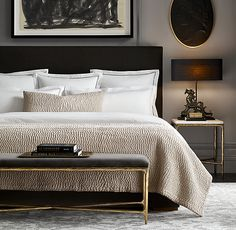 30 French Country Bedroom Design and Decor Ideas for a Unique and Relaxing Space - The Trending House Black Headboard, Black Bedding, Bedroom Furniture, Bedroom Decor, Bedroom Ideas, Furniture Ideas, Furniture Dolly, Furniture Layout, Bedroom Colors