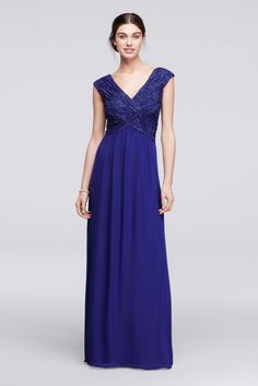 Long Lace Gown with Embellished Sequin Bodice Style AWKOJ57