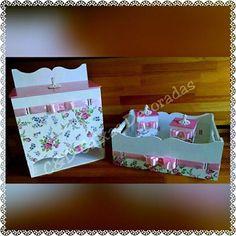 Kit de bebê #caixasdecoradas #artesanato #bebê #menina #perolas #flores #rosas #umcharme #potes #portafraldas #bandeja