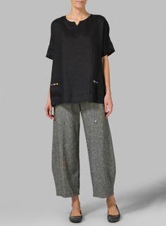 PLUS Clothing - Linen Sweetheart Neckline Tunics