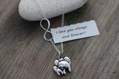 Two Elephant Necklace Mother & Baby Elephant Pendant by MonyArt