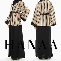 HIRA Neutral Stripes Wrap Abaya