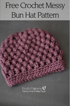 Free Crochet Pattern - Another gorgeous crochet messy bun hat pattern! It features a cozy puff stitch design and simple, elegant style. By Posh Patterns.