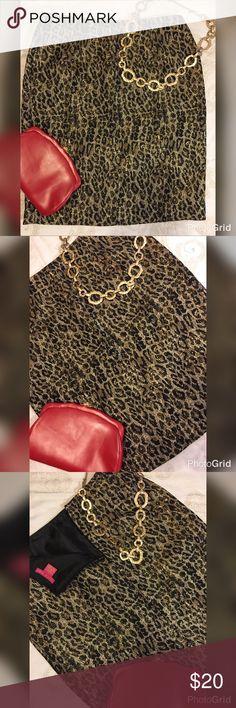 Sunny Leigh Leopard/Metallic Skirt Size 8 Sunny Leigh Leopard/Metallic Pencil Skirt Size 8 Sunny Leigh Skirts Pencil