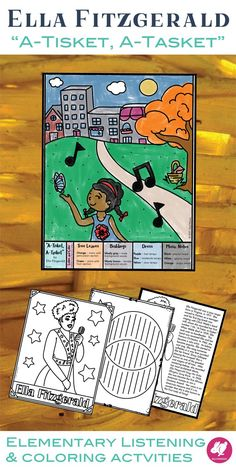 "This is coloring printable, Venn diagram worksheet, and listening glyph to accompany the song ""A-Tisket, A-Tasket,"" performed by Ella Fitzgerald, It's great for music and general ed teachers, and  for make great sub plans, along with the children's book. #sillyomusic"