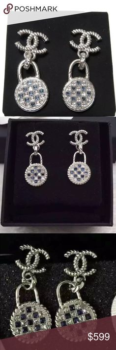 Auth Chanel 2016 CC Lock Crystal Earrings Silver Very rare piece! Truly one of a kind and absolutely stunning! CC measures approx. 15mm wide and total length is approx 4cm. Pristine Like NEW! Earrings are sold as is; no accessories. GUARANTEED 100% AUTHENTIC. PHOTOS ARE TAKEN OF THE EXACT SAME ITEM YOU WILL RECEIVE! WHAT YOU SEE IS WHAT YOU GET*** PLEASE VISIT OUR WEBSITE AT WWW.AUTHENTICLUXURIESTW.COM or email me at authenticluxuries11@gmail.com for more detailed photos =). CHANEL Jewelry…
