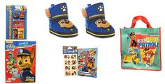 What a Great Present ---> Paw Patrol Toddler Boys Fun Before Bedtime Gift Set Boot Style Slippers Plus Stickers Tattoos Coloring Book  Slippers Come in Size Medium (7-8) Large (9-10) and XL (21-12) #PawPatrol