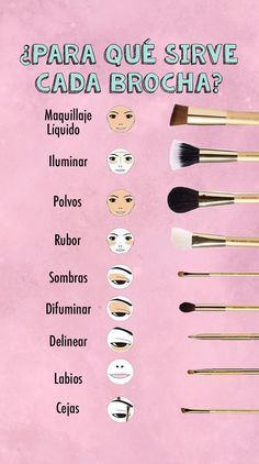 Para esto sirve cada brocha de maquillaje This is what every makeup brush is for Maskcara Makeup, Skin Makeup, Makeup Brushes, Face Brushes, Cosmetic Brushes, Eyeshadow Makeup, Makeup Inspo, Makeup Tips, Beauty Makeup