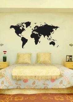Detailed World Map - uBer Decals Wall Decal Vinyl Decor Art Sticker Removable Mural Modern A256