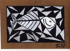 Nome do Artista: CAIÁ /  Nome da Obra: Peixe Mosaico / Técnica: Pintura com Tinta Acrílica sobre Papel. / Contato: (84)99451024 / Panamirim / RN / Brasil