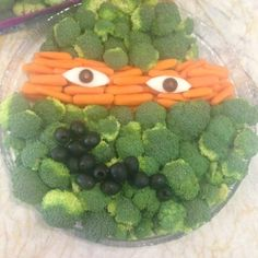 Teenage Mutant Ninja Turtle Birthday Party Veggie Tray. Could do a fruit version of kiwi and strawberries for Raph.