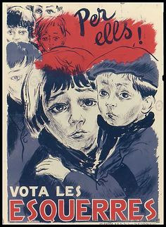 Antifascist Catalan poster from the Spanish Civil war. The lower heading says 'Vote for the left. Frente Popular, Spanish Posters, Propaganda Art, Political Posters, Lightning Strikes, Party Poster, Vintage Advertisements, Civilization, Vintage Posters