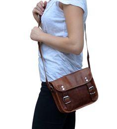 """Gusti Leder nature """"Jane 7.9"""" Genuine Leather Handbag Vintage Satchel Style Shoulder Cross Body Bag Unisex Natural Brown K40b: Amazon.co.uk: Shoes & Bags"""