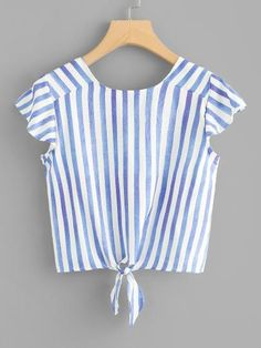 Shop Knot Hem Striped Crop Top at ROMWE, discover more fashion styles online. Girls Fashion Clothes, Women's Fashion Dresses, Cute Comfy Outfits, Pretty Outfits, Blouse Designs, Blouse Styles, Bras For Backless Dresses, Black Girl Fashion, Womens Fashion