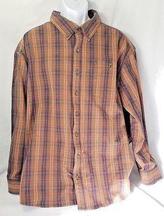 1f2b8559e3d5 C.E. Schmidt Workwear Men s 3XL Orange Plaid Long Sleeve Button Up Down  Collared  Schmidt