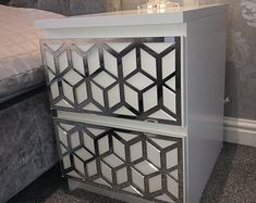 Ikea malm   Etsy Coral Furniture, Mirrored Furniture, Home Decor Furniture, Ikea Malm Drawers, Ikea Chest Of Drawers, Ikea Overlays, Hollywood Makeup Mirror, Ikea Decor, Pvc Panels