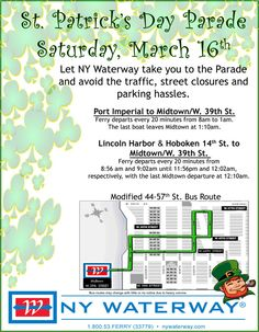 Saturday March 16th Modified Bus Routes for St. Patrick's Day Parade