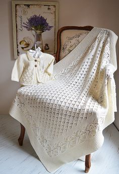 Knitting Pattern Lace and Diamond Heirloom Baby Blanket and Matching Baby Jacket - simple, but elegant, lace and diamond pattern blanket with a garter stitch border. Matching round yoked jacket in sizes 0-3 months, 3 - 6 months, 6-12 months, 12-18 months. By OGE Designs. tba See more pics and get the pattern at http://www.awin1.com/cread.php?awinaffid=234273&awinmid=6220&p=https%3A%2F%2Fwww.etsy.com%2Flisting%2F452486308%2Flace-and-diamond-heirloom-blanket-and