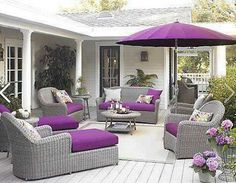 Stylish Eve,patio w/purple accent cushions and umbrella !
