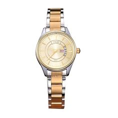 LONGBO Womens Luxury Gold Stainless Steel Band Strap Quartz Watches Slim Alloy Dial Auto Date Day Lovers Waterproof Multifunction Business Wrist Watch ** You can find more details by visiting the image link. (Note:Amazon affiliate link)