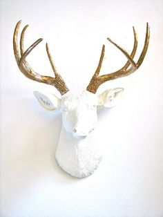 Faux Taxidemy Deer Head Animal Head Wall Mount Wall Hanging Home Decor:  Deerman the Deer Head in white with gold antlers