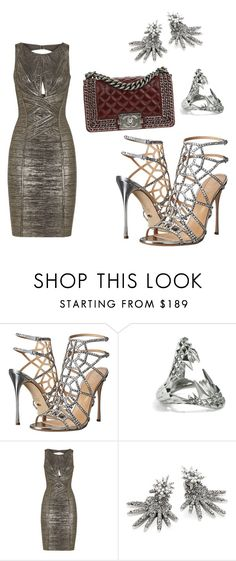 """""""Untitled #2097"""" by loveparis7 ❤ liked on Polyvore featuring Sergio Rossi, Kasun, Hervé Léger, Oscar de la Renta and Chanel"""