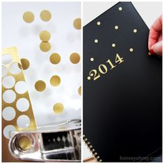 Customize a plain planner with GOLD polka dots. Beautiful!