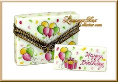 Balloons Birthday Envelope Limoges box, Birthday Gifts, French Limoges boxes www.LimogesBoxCollector.com