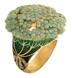 "genius of Russia's Ilgiz F Ilgiz F's ""Hortense"" ring with lifelike champlevé enamelling.pinned by ♥ , thoughtful jewelry.Ilgiz F's ""Hortense"" ring with lifelike champlevé enamelling.pinned by ♥ , thoughtful jewelry. Bijoux Art Nouveau, Art Nouveau Jewelry, Jewelry Art, Jewelry Rings, Jewelry Accessories, Fine Jewelry, Fashion Jewelry, Jewelry Design, Jewelry Making"