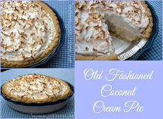 Old Fashioned Coconut Cream Pie {no eggs} This coconut cream pie reminds me of the old fashioned diner style pies. #pie #oldfashioned #coconut #foodholiday