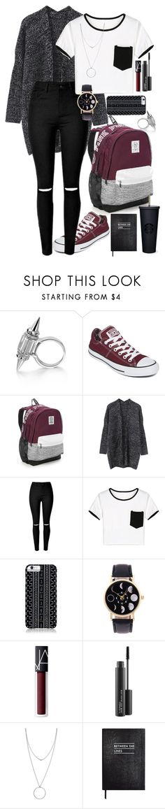 """School outfit"" by catherinetabor ❤ liked on Polyvore featuring Converse, Victoria's Secret, WithChic, Savannah Hayes, NARS Cosmetics, MAC Cosmetics, Botkier and Sloane Stationery"