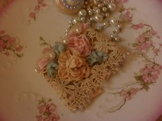 Vintage Lace And Pearls | ... Lace Cuff with Vintage Lace and French Ribbon Work Roses and Pearls
