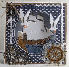 Handmade card by DT member Anja with Craftables Tiny's Ocean Set Punch Die Fish Creatables Tiny's Tall Ship Porthole and Ropes from Marianne Design Z Cards, Paper Cards, Marianne Design Cards, Nautical Cards, Beach Cards, Birthday Cards For Boys, Sea Theme, Fathers Day Cards, Masculine Cards