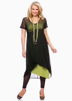 I just bought this overlay dress from Taking Shape, it's on special this weekend too! Plus Size Women's Tops, Plus Size Coats, Curvy Fashion, Plus Size Fashion, Layering Outfits, Plus Size Leggings, Fashion Tips For Women, Ladies Fashion, Large Size Dresses