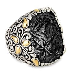 Carved Black Onyx Sterling Silver Ring with 18K Gold Accents   Cirque Jewels