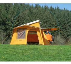 Auvent Vintage SK avec tapis de sol et une chambre intérieure, 340x200cm plus l'espace entre véhicule et auvent, avec un côté ouvrant pare-soleil