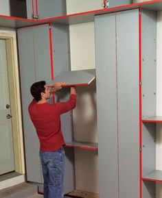 "Leave space between cabinets for shelves, and double your space. Whether you're building utility cabinets or buying them, you can double the storage you get from each cabinet. Just leave spaces between the cabinets and fill those spaces with shelves. The easiest way to hang the shelves is to drill holes for shelf supports in the cabinet sides. To see how to build a variety of cabinet systems, go to familyhandyman.com. and select ""garage storage."""