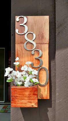 DIY House Number. Use floral that's fake for NO MESS