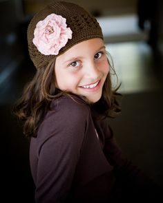 pink ribbon rose crochet toddlers hat