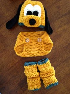 Halloween! Pluto hat Diaper Cover & Leg warmers custom order by LoopsbyLiz
