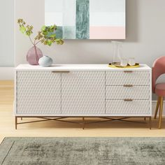 Modern Rustic Interiors Francesca TV Stand for TVs up to 70 inches Gold Tv Stand, Tv Stand Set, Tv Stand Wayfair, White Credenza, Luxe Decor, Green Cabinets, Wood Sideboard, Modern Console Tables, Wood Drawers