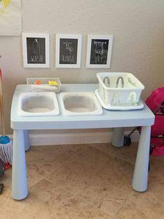 Montessori style washing station all with Ikea supplies Ikea Montessori, Montessori Classroom Layout, Toddler Classroom, Montessori Preschool, Montessori Education, Montessori Materials, Preschool Classroom, Reggio Classroom, Maria Montessori