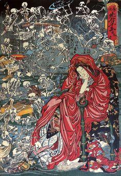"""theolduvaigorge: """" realcleverscience: """" starxgoddess: """"Kawanabe Kyousai 河鍋暁斎 ~ Jigoku tayuu 地獄太夫 (Hell Courtesan) - Japan - 1874 """" I like that guy shredding his guitar out on the top left. """" I like your man. Japanese Artwork, Japanese Painting, Japanese Prints, Memento Mori, Japanese Horror, Japanese Mythology, Kuniyoshi, Japanese Illustration, Antique Illustration"""