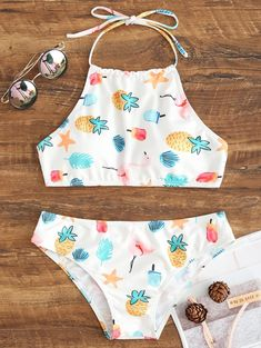 High Neck Halter Bikini Swimsuit – WHITE – Bikini swimsuit with high neckline and halterneck – WHITE – Bathing Suits For Teens, Summer Bathing Suits, Cute Bathing Suits, Bathing Suit Covers, Cute Swimsuits, Cute Bikinis, Halter Bikini, Bikini Swimwear, High Neck Bikini