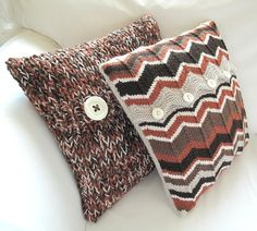 Rust chevron cushion cover ~ A Crooked Sixpence (I love my Mam's hand knitted cushions!)